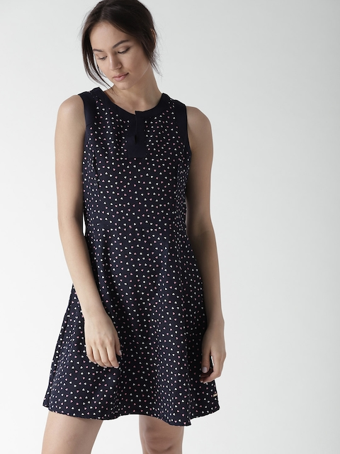 Tommy Hilfiger Women Navy Blue Printed Fit and Flare Dress
