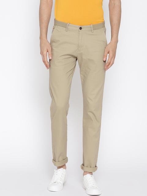 Arrow Sport Men Beige Chrysler Regular Fit Solid Regular Trousers