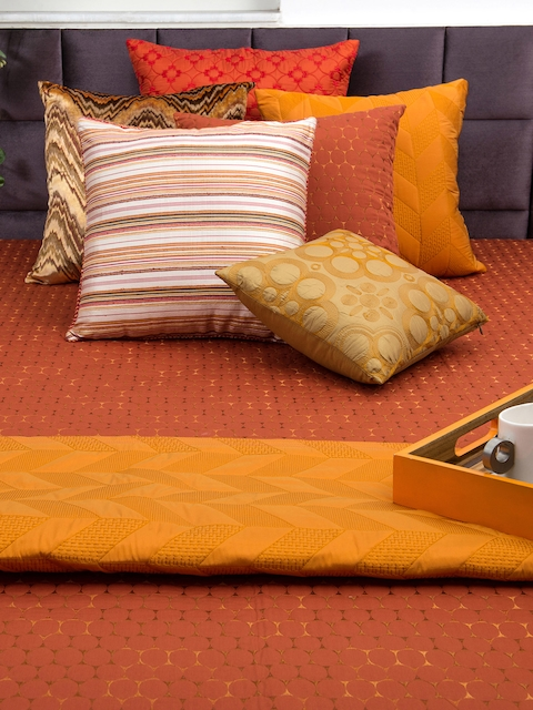 THE CUSHION PROJECT Rust Woven Design Double Bed King Size Bed Cover