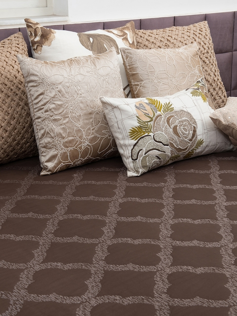THE CUSHION PROJECT Brown Woven Design Double Bed King Size Bed Cover
