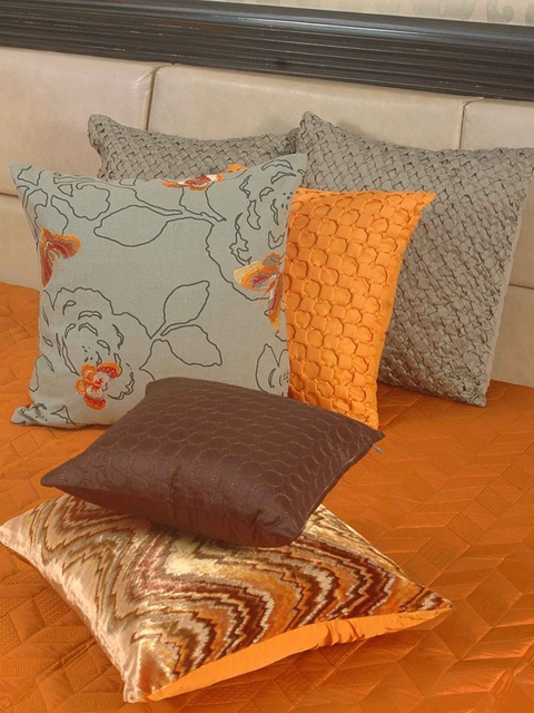 THE CUSHION PROJECT Orange Woven Design Double Bed King Size Bed Cover