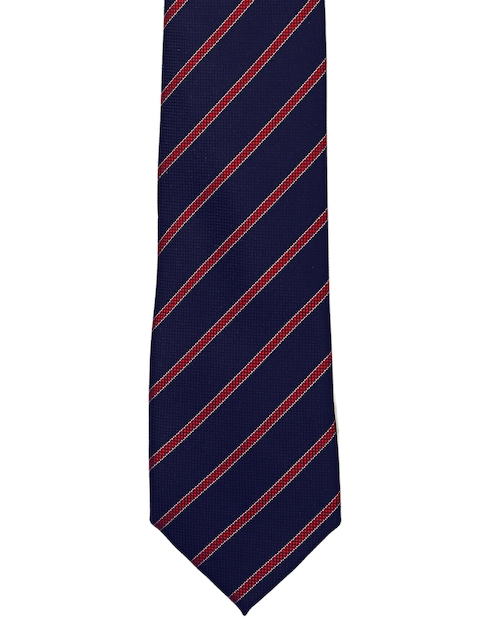 Tossido Navy Blue & Red Striped Broad Tie