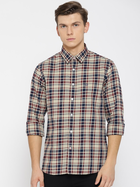 Arrow Sport Men Beige & Navy Slim Fit Checked Casual Shirt