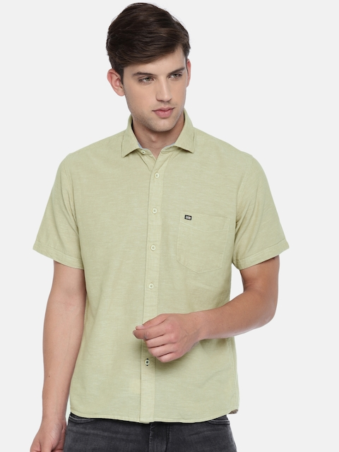 Arrow Sport Men Beige Regular Fit Solid Casual Shirt