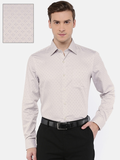 Arrow Men Beige Slim Fit Self Design Formal Shirt