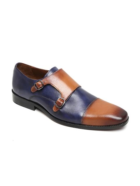 BRUNE Men Tan & Blue Colourblocked Formal Leather Monk Shoes