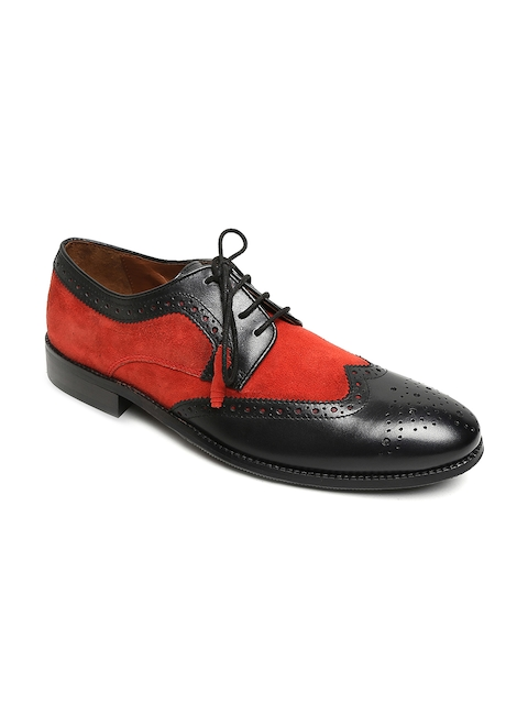 BRUNE Men Black & Red Colourblocked Formal Leather Brogues