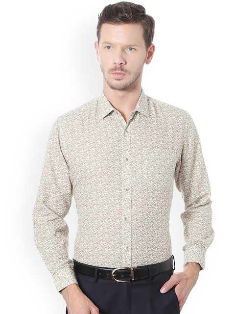 Peter England Casuals Men Beige & Off-White Slim Fit Printed Formal Shirt