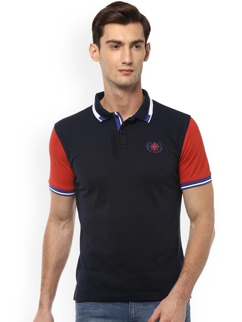 Peter England Casuals Men Black Colourblocked Polo Collar T-shirt
