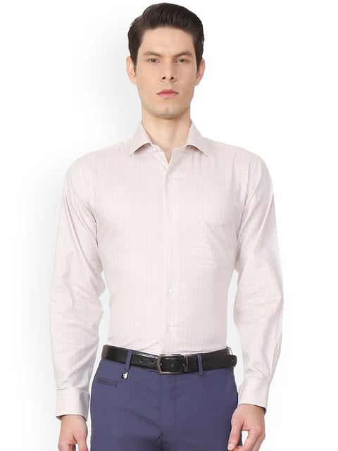Van Heusen Men Beige Regular Fit Checked Formal Shirt