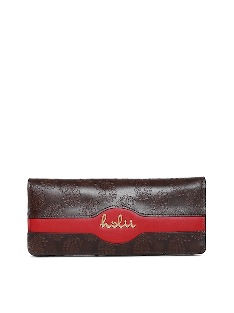 Holii Women Brown Textured Two Fold Wallet