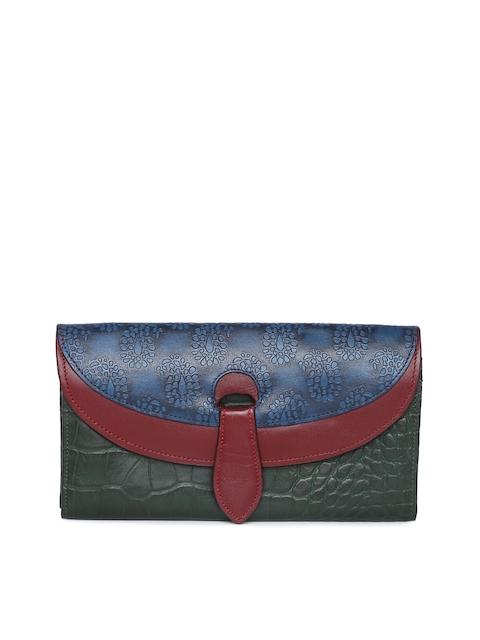 Holii Women Blue & Green Colourblocked Two Fold Wallet