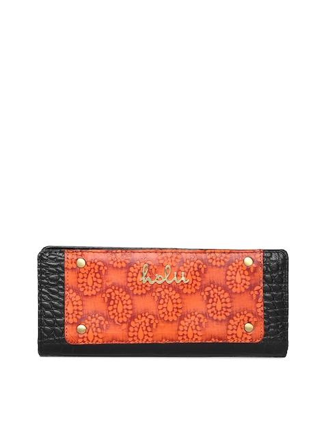 Holii Women Black & Orange Textured Two Fold Wallet
