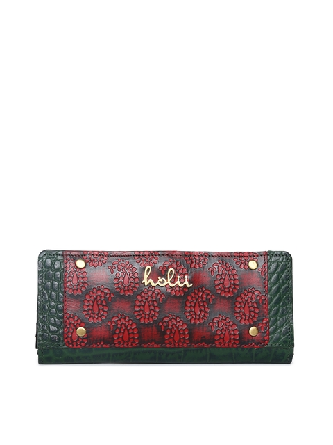 Holii Women Green & Red Colourblocked Two Fold Wallet