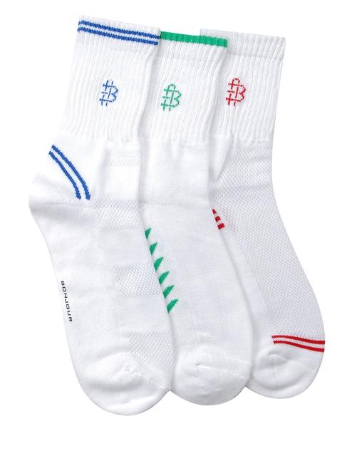 Bonjour Men Set of 3 White Calf-Length Socks