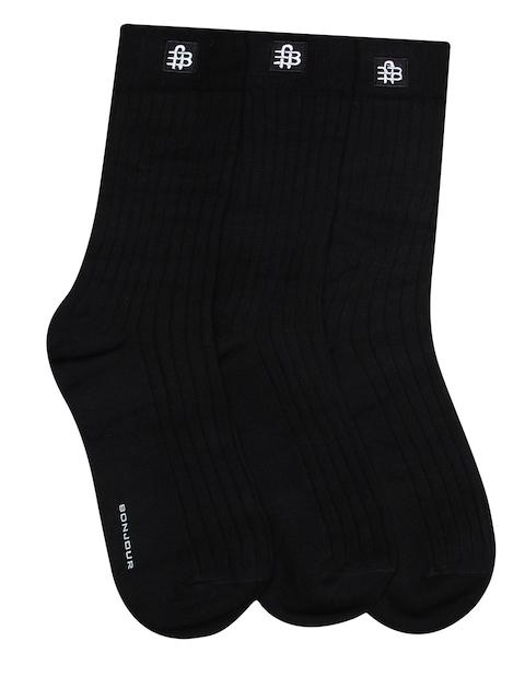 Bonjour Men Set of 3 Black Striped Socks