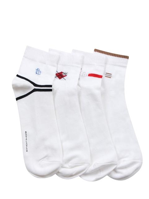 Bonjour Men Set of 4 White Ankle-Length Socks