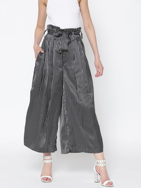 Sera Women Black & Off-White Striped Flared Palazzos