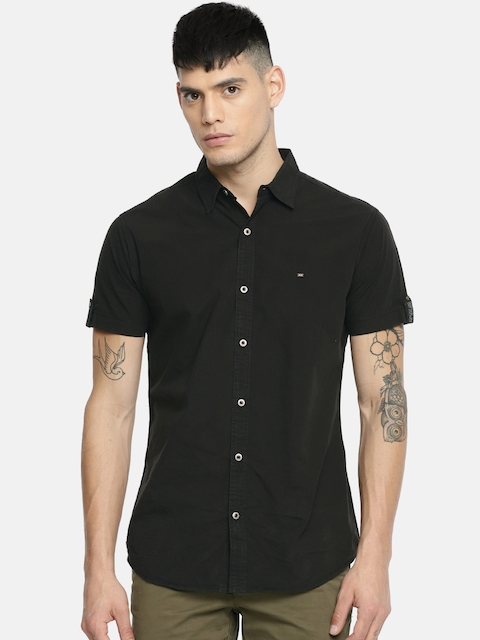 SPYKAR Men Black Regular Fit Solid Casual Shirt