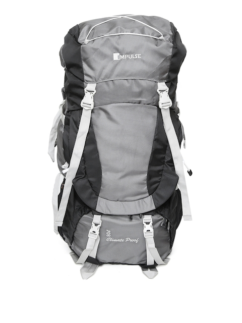 Impulse Unisex Black & Grey Colourblocked 73 Litres Rucksack