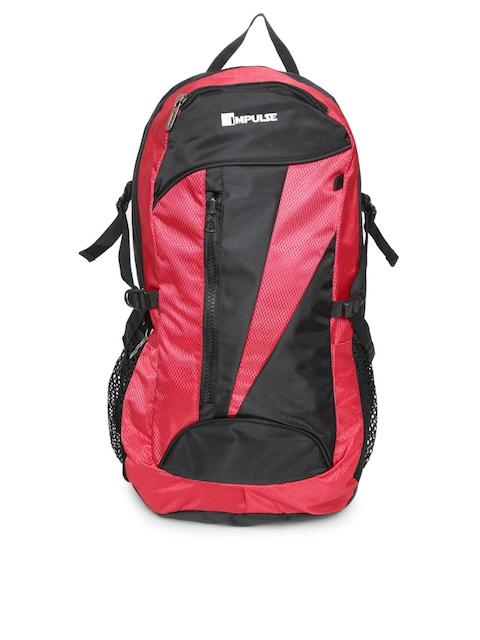 Impulse Unisex Red & Black Colourblocked Backpack