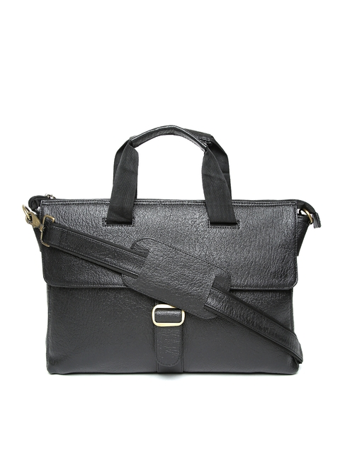 Impulse Unisex Black Solid Laptop Bag with Sling Strap