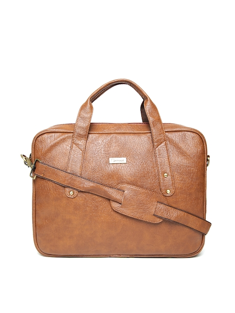 Impulse Unisex Tan Brown Solid Laptop Bag with Sling Strap
