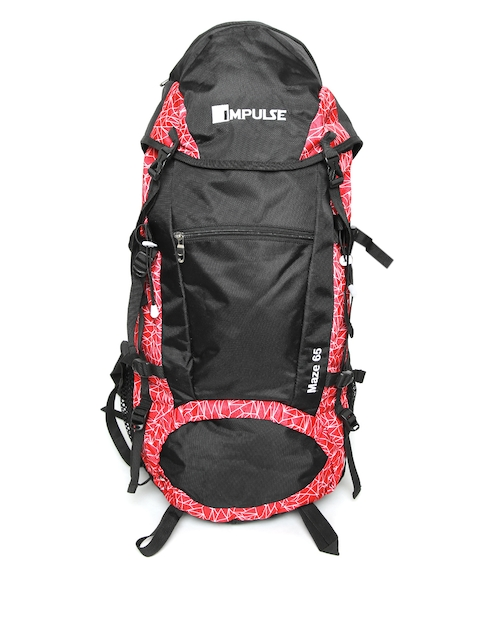 Impulse Unisex Black & Red Geometric Print Maze 57 Litres Rucksack