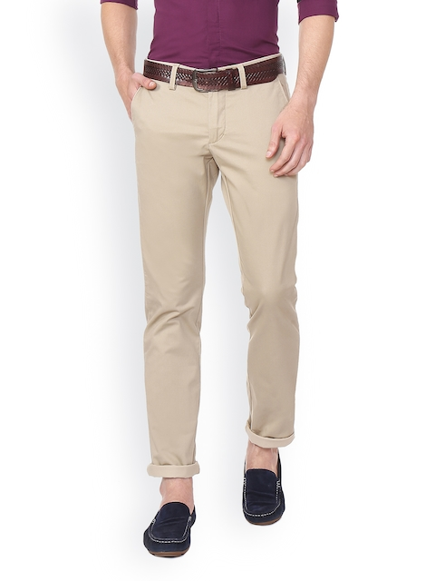 Allen Solly Men Beige Slim Fit Solid Chinos
