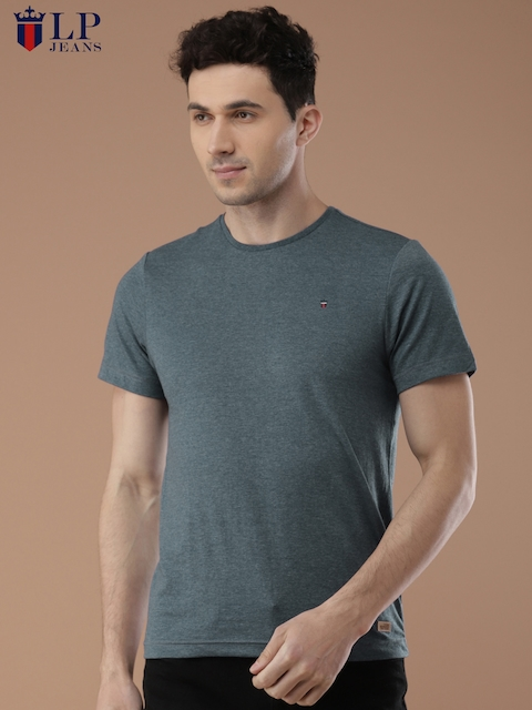 Louis Philippe Jeans Men Blue Solid Round Neck T-shirt