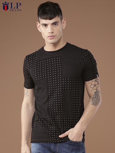Louis Philippe Jeans Men Black Printed Round Neck T-shirt