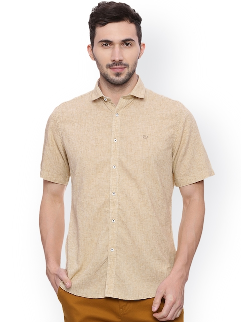 Van Heusen Sport Men Beige Slim Fit Solid Casual Shirt