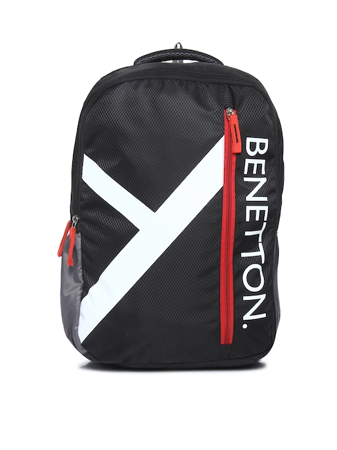 United Colors of Benetton Unisex Black Graphic Backpack