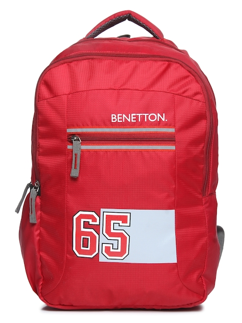 United Colors of Benetton Unisex Red Graphic Backpack