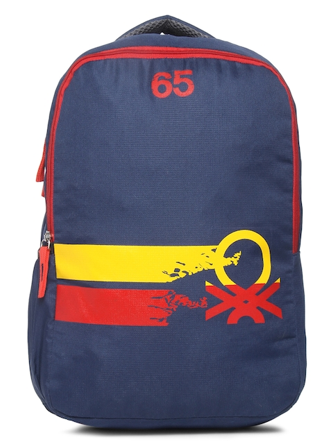 United Colors of Benetton Unisex Navy Blue Brand Logo Backpack