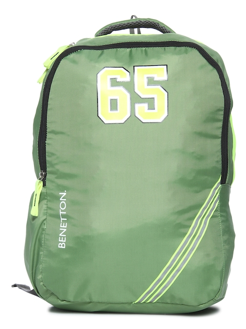 United Colors of Benetton Unisex Green Graphic Backpack