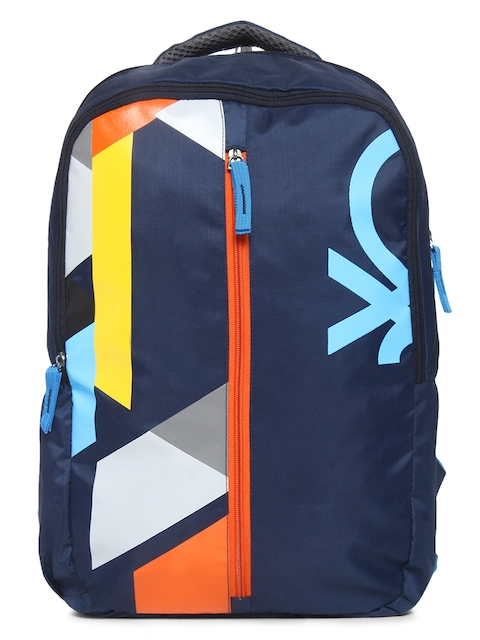 United Colors of Benetton Unisex Navy Blue Colourblocked Backpack
