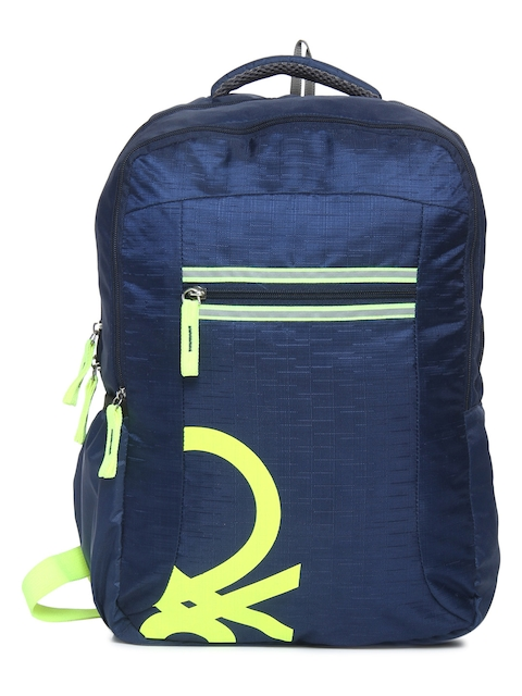 United Colors of Benetton Unisex Blue Brand Logo Backpack