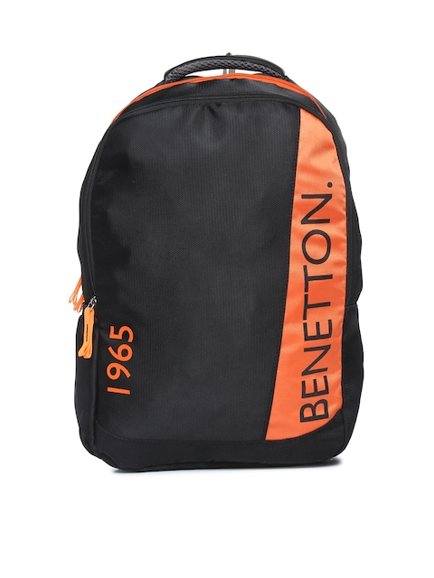 United Colors of Benetton Unisex Black Printed Backpack