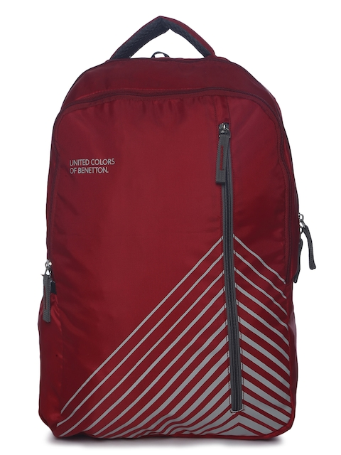 United Colors of Benetton Unisex Maroon Graphic Backpack