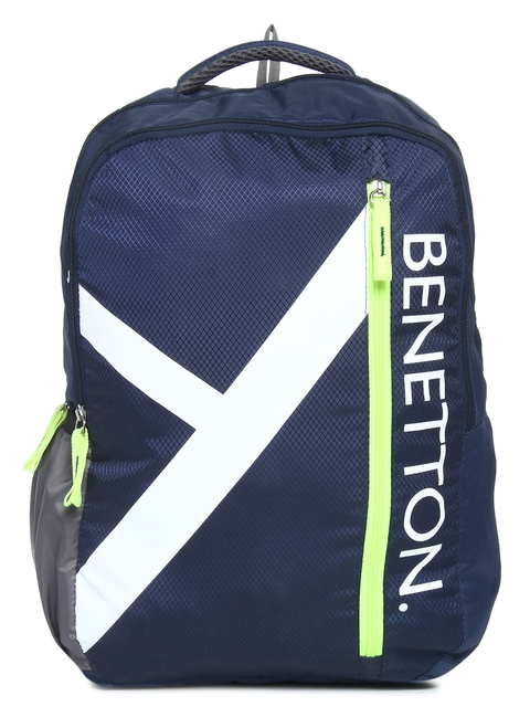 United Colors of Benetton Unisex Navy Printed Backpack