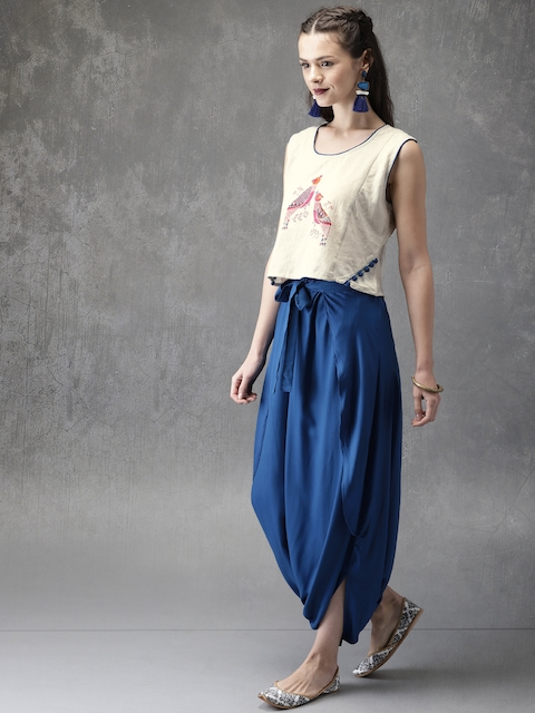 Anouk Women Off-White & Blue Printed Top with Dhoti Pants