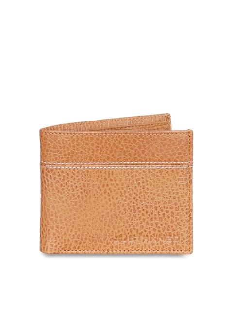 Justanned Men Tan Self Design Two Fold Wallet