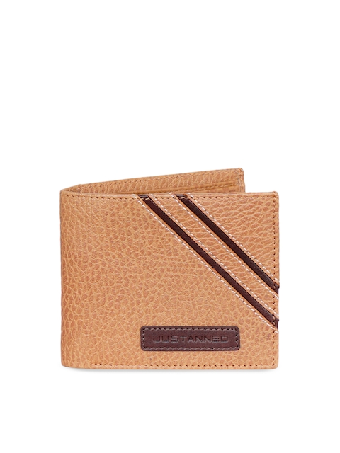 Justanned Men Tan Solid Two Fold Wallet