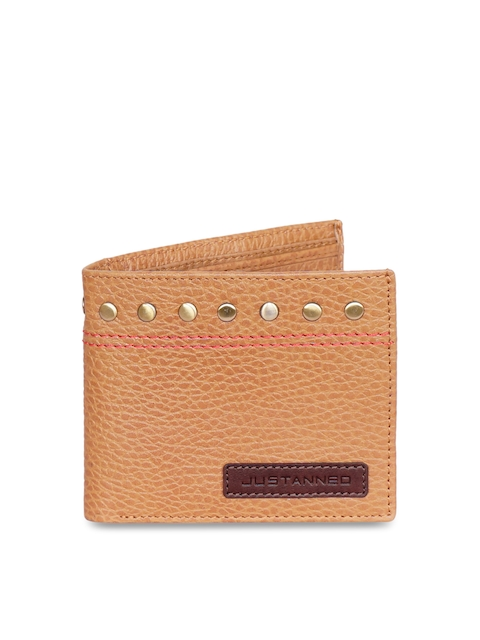 Justanned Men Tan Brown Solid Two Fold Wallet