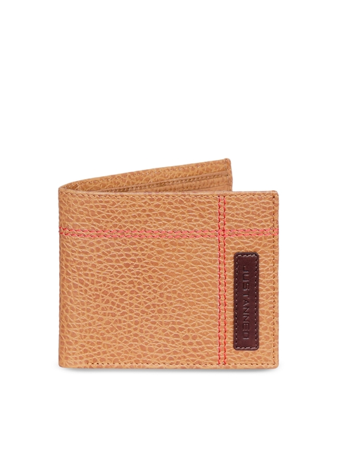 Justanned Men Tan Textured Two Fold Wallet