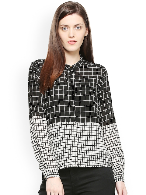 Van Heusen Woman Black & White Regular Fit Checked Casual Shirt