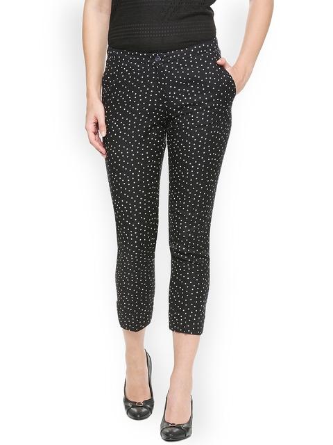 Van Heusen Woman Women Black Regular Fit Printed Regular Trousers