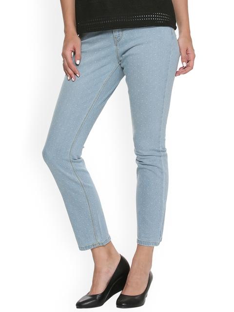 Van Heusen Woman Women Blue Regular Fit Mid-Rise Clean Look Ankle-Length Stretchable Jeans
