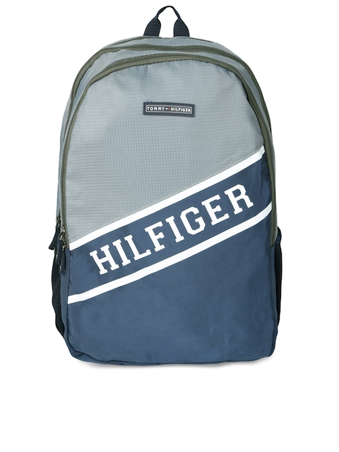 Tommy Hilfiger Unisex Grey & Navy Blue Brand Logo Backpack